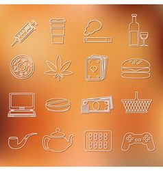 addiction outline icons vector image vector image