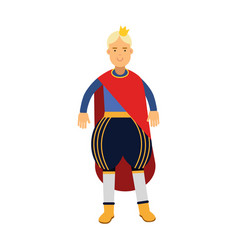 blonde prince in red mantle and gold crown vector image
