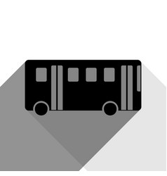 bus simple sign black icon with two flat vector image