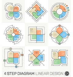 Circle Gear Arrows set Linear line design elements vector image vector image