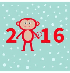 Cute monkey on snow background new year 2016 baby vector