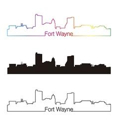 Fort Wayne skyline linear style with rainbow vector image