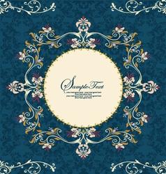 Vintage floral frame on damask background vector