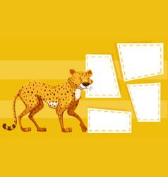 a cheetah on yellow template vector image