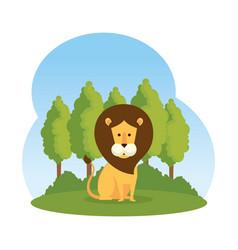 African lion in the savannah vector
