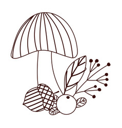 autumn mushroom acorn berry branch leaf isolated vector image