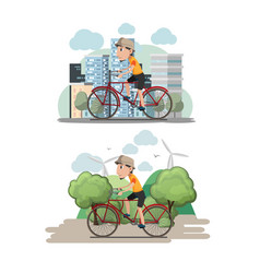 Bicycle man ride city eco vector
