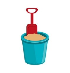 blue beach cup with sand and spoon graphic vector image