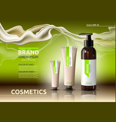 Body care cosmetic set serum and cream ads vector