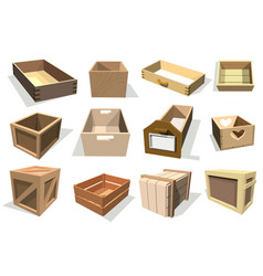 box package wooden empty drawers and packed vector image