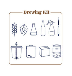 Brewing kit icon in line draw style vector