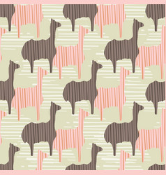brown and pink kids llama silhouette seamless vector image
