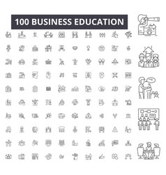 business education editable line icons 100 vector image