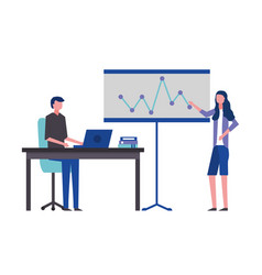 business man and woman office board chart vector image