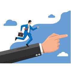 Businessman on hand ladder is fast running vector