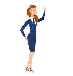 Caucasian stewardess pointing with her forefinger vector