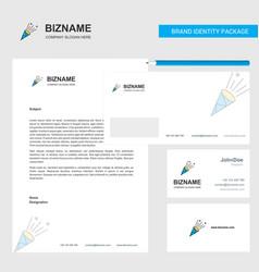 celebration pop business letterhead envelope and vector image