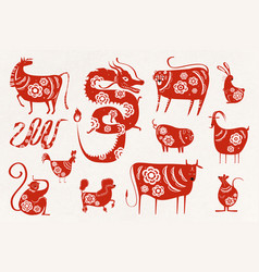 Chinese new year zodiac symbol collection vector