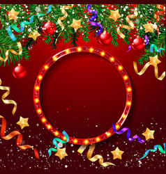 christmas red and gold frame vector image