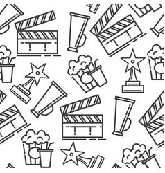cinema industry clapperboard with popcorn and vector image