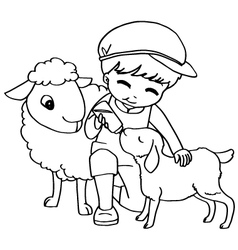 Coloring book child feeding sheeps vector