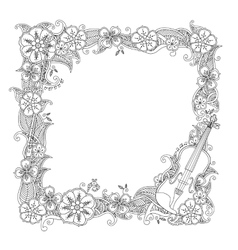 Coloring page - border square frame with violin vector