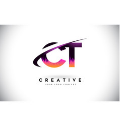 Ct c t grunge letter logo with purple vibrant vector