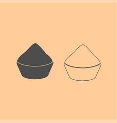 cupcake dark grey set icon vector image