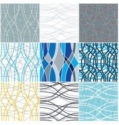 Curve wavy lines seamless patterns set repeat vector