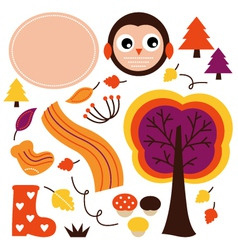 Cute autumn cartoon collection isolated on white vector