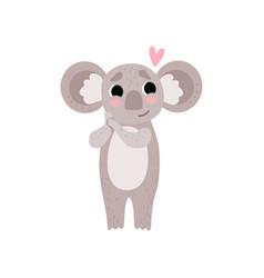 Cute koala bear in love funny grey animal vector