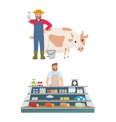 farmer and vendor icons set vector image