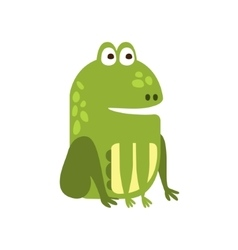 Frog Sitting Properly Flat Cartoon Green Friendly vector