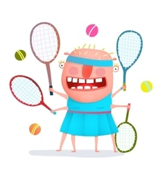 Funny freaky tennis player monster vector