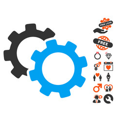 Gears icon with dating bonus vector