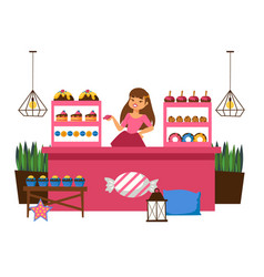 Girl behind counter selling sweets vector