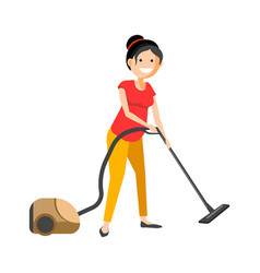 girl working with vacuum cleaner vector image
