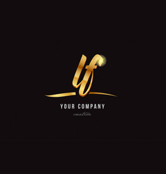 Gold alphabet letter lf l f logo combination icon vector