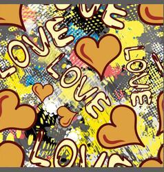 graffiti valentine day seamless background grunge vector image