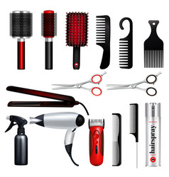hairdresser big icon set vector image