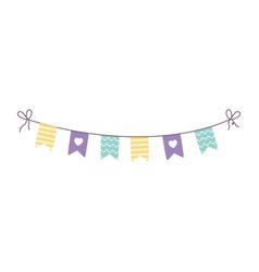 happy birthday pennants decoration celebration vector image