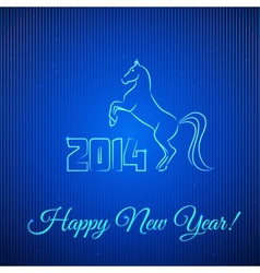 Happy New Year 2014 Illuminated Neon Horse vector image