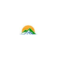 house mountain nature logo vector image