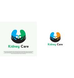 Human kidney organ health care logo design vector