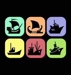 in sea icons with images various ships vector image