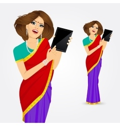 Indian woman showing tablet screen vector