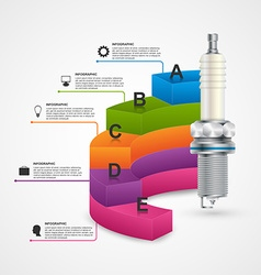 Infographics with spark plugs for presentations vector