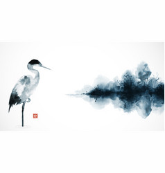 Ink wash painting with heron and misty island with vector
