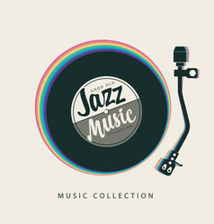 Jazz music poster with vinyl record player and vector