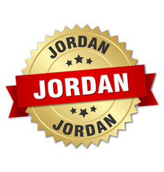 Jordan round golden badge with red ribbon vector